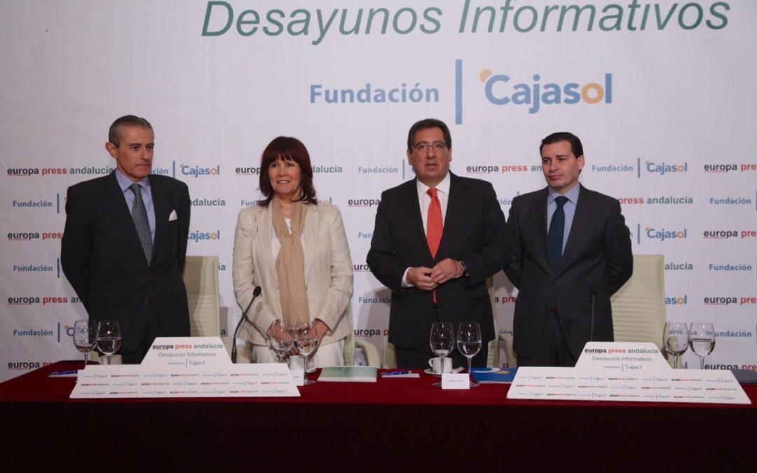 Micaela Navarro protagoniza una nueva edición de los Desayunos de Europa Press Andalucía desde la Fundación Cajasol