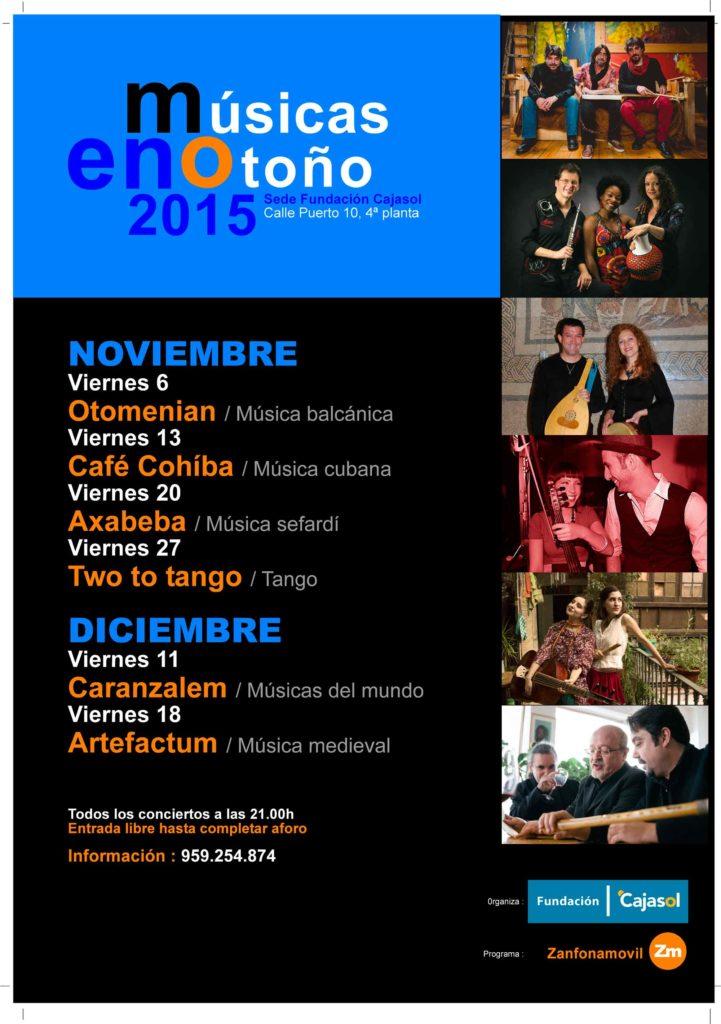Cartel de 'Músicas de Otoño' en la Fundación Cajasol (Huelva)