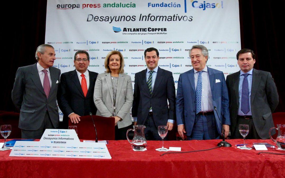Fátima Báñez analiza la lucha contra el desempleo en los Desayunos Informativos de Europa Press desde la Fundación Cajasol