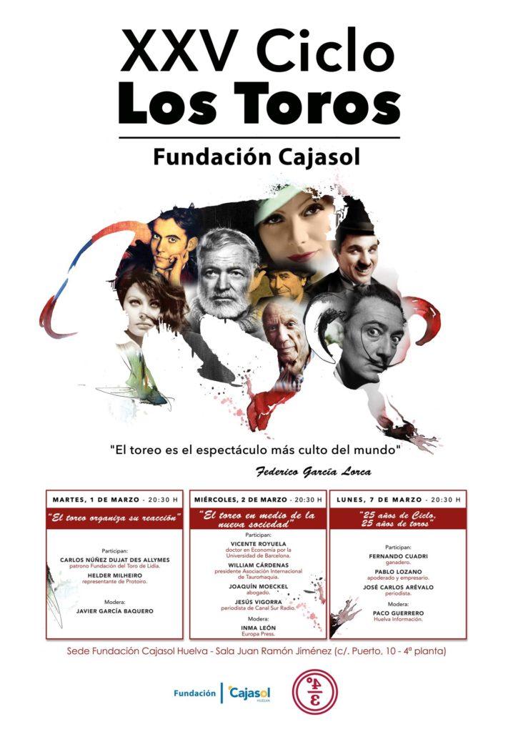 Cartel del XXV Ciclo Los Toros en la Fundación Cajasol (Huelva)