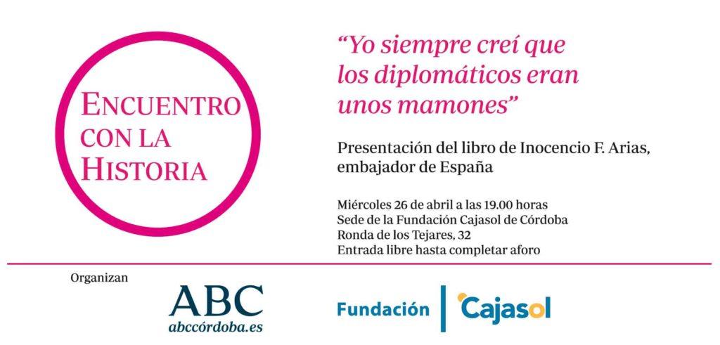 Invitación para el libro de memorias de Inocencio Arias en la Fundación Cajasol (Córdoba)