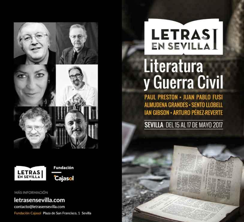 Cartel con los protagonista de la jornada 'Literatura y Guerra Civil' dentro de Letras en Sevilla