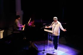 "Recital poético de Nach en la Fundación Cajasol (2) • <a style=""font-size:0.8em;"" href=""http://www.flickr.com/photos/129072575@N05/27471553779/"" target=""_blank"">View on Flickr</a>"