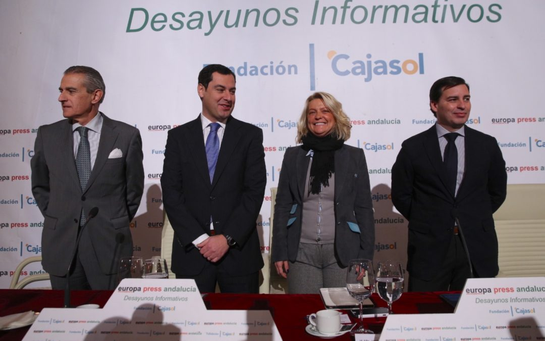 Juan Manuel Moreno Bonilla repite cita en los Desayunos Informativos de Europa Press desde la Fundación Cajasol