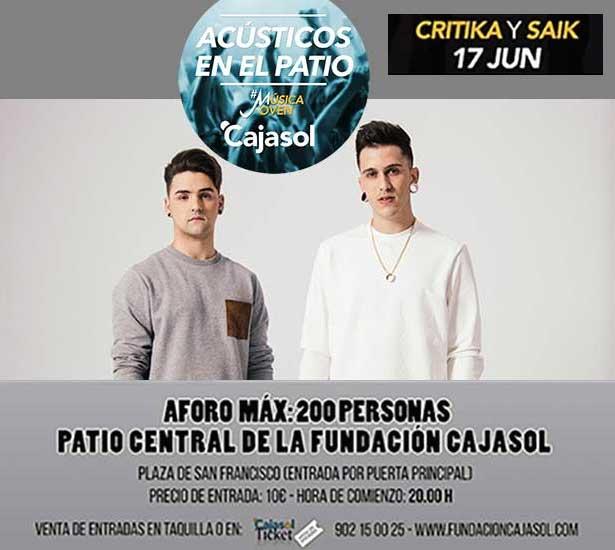 El dúo Critika y Saik abre el ciclo de conciertos 'Acústicos en el patio' en la Fundación Cajasol