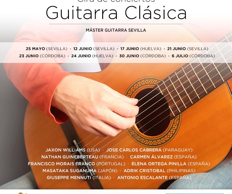 Guitarristas de todo el mundo que participan en el Master de Guitarra Clásica de Sevilla homenajean a Cervantes en la sede de la Fundación Cajasol en Huelva