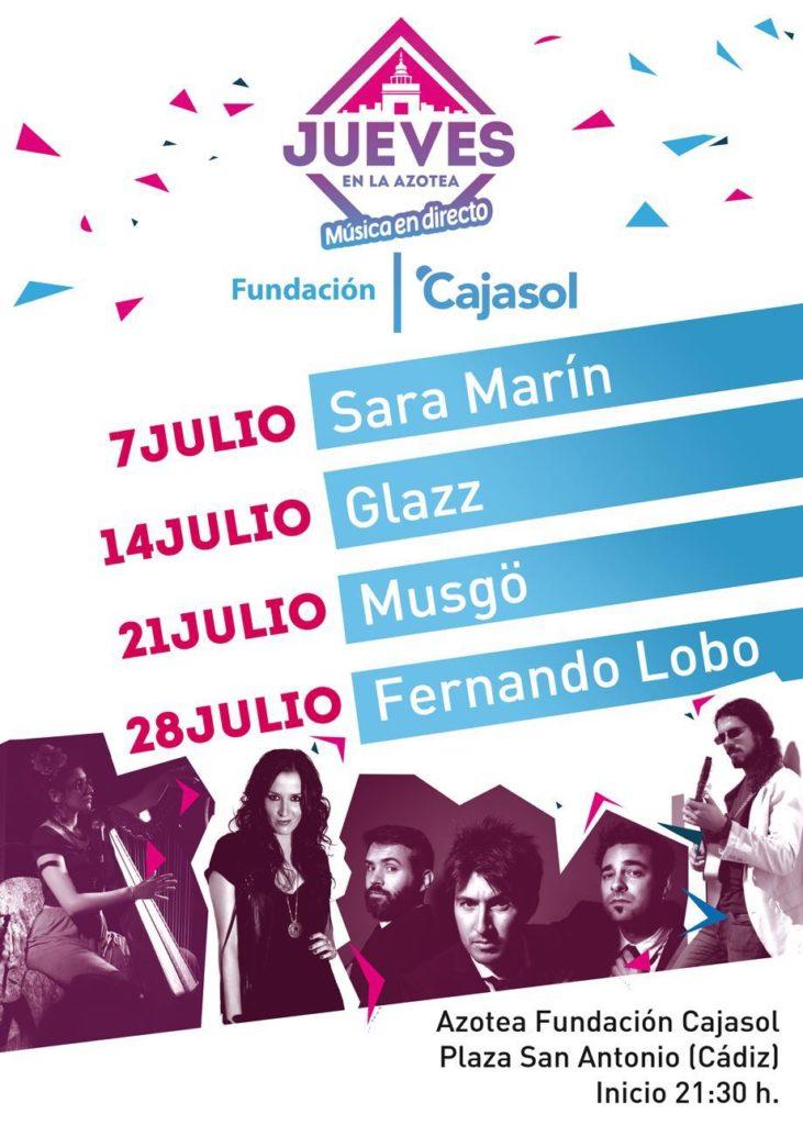 Cartel del ciclo de conciertos 'Los Jueves en la Azotea' de la Fundación Cajasol en Cádiz