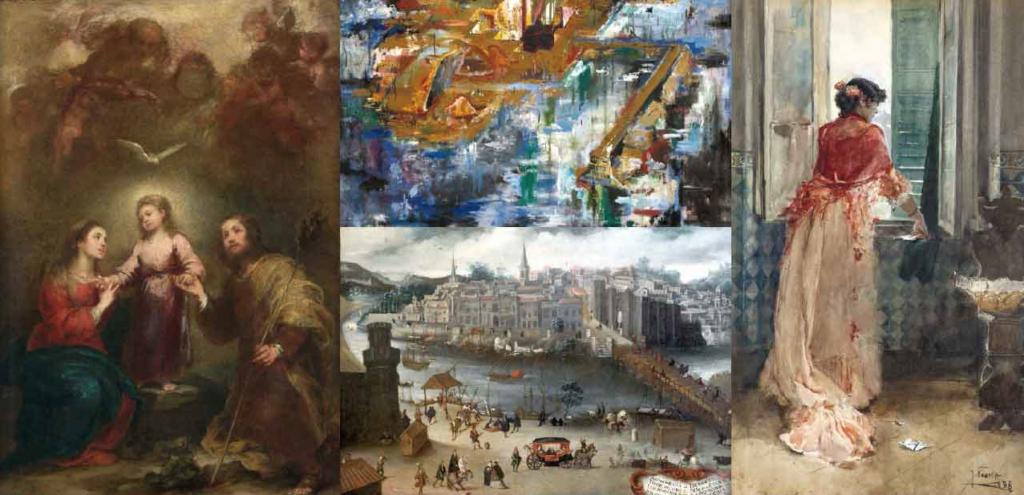 Algunas de las obras que forman parte de la colección de arte de la Fundación Cajasol