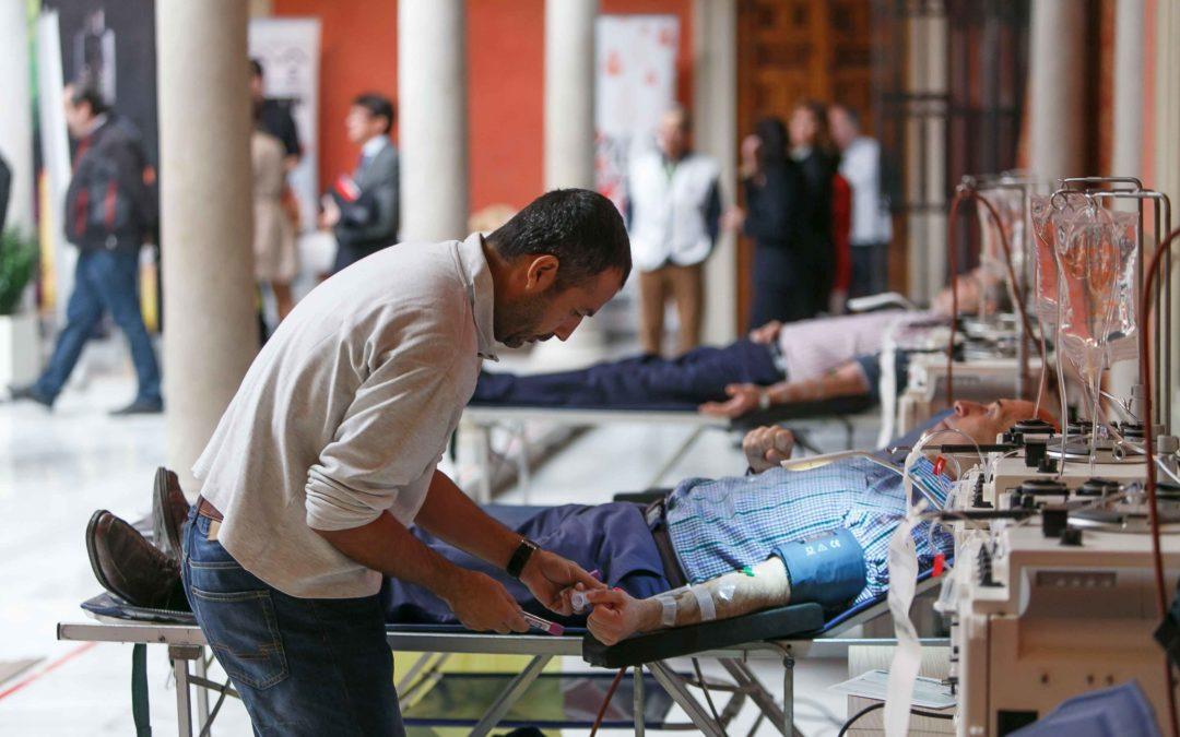 Maratón de donación de sangre y plasma prenavideño en la sede de la Fundación Cajasol en Sevilla
