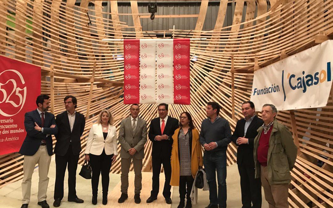 La Fundación Cajasol comprueba la evolución en la construcción de la 'Nao Santa María 525'