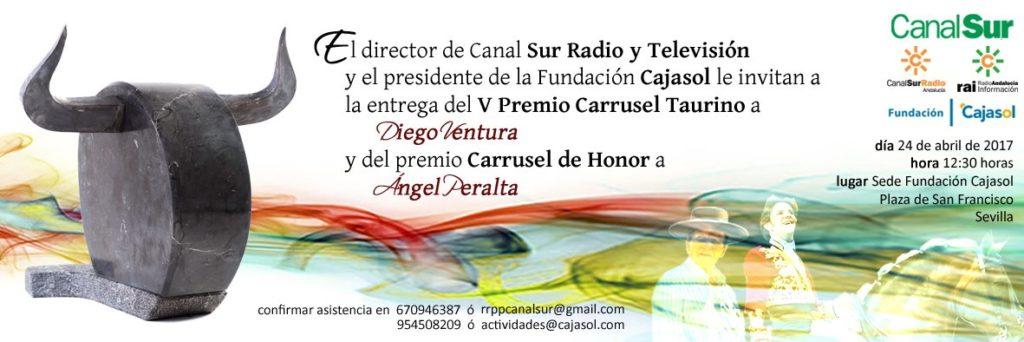 Invitación a la entrega de los Premios Carrusel Taurino 2017 en la Fundación Cajasol
