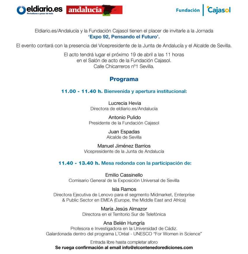 Programa de la jornada 'Expo 92, Pensando el Futuro' en la Fundación Cajasol