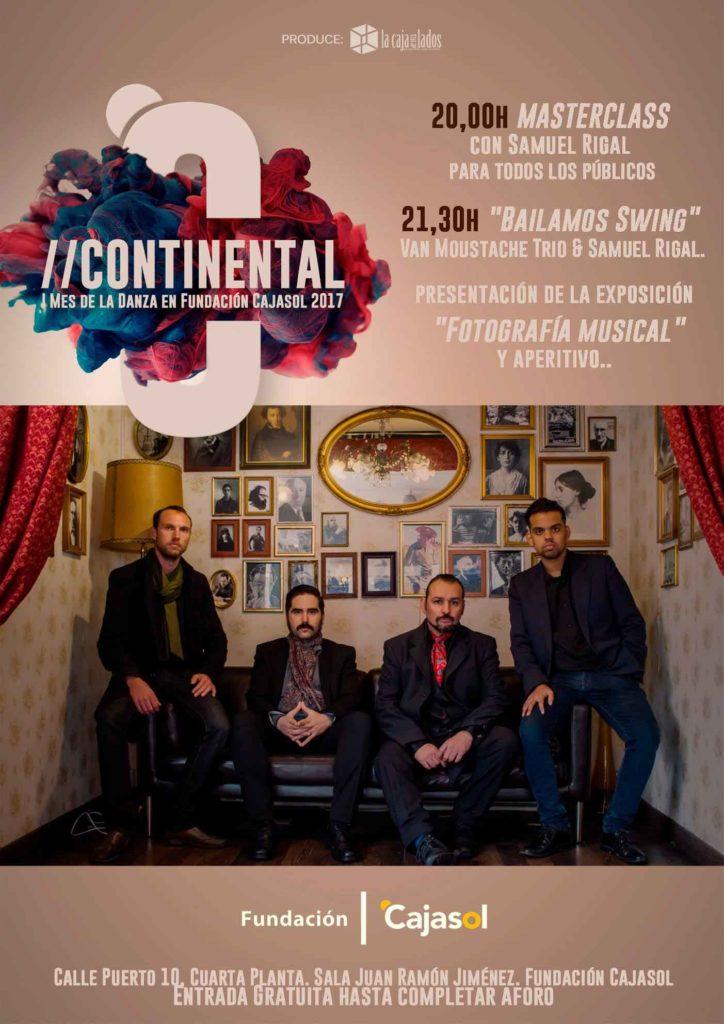 Cartel de la actuación de Van Moustache en el ciclo Continental, mes de la danza en la Fundación Cajasol