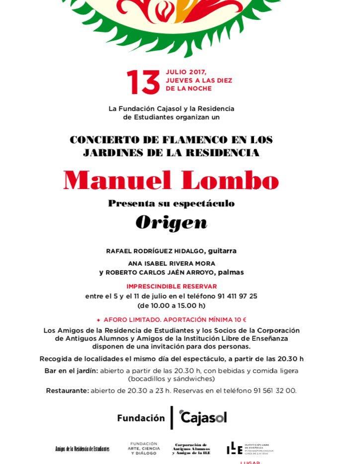 Cartel del concierto de Manuel Lombo en la Residencia de Estudiantes de Madrid