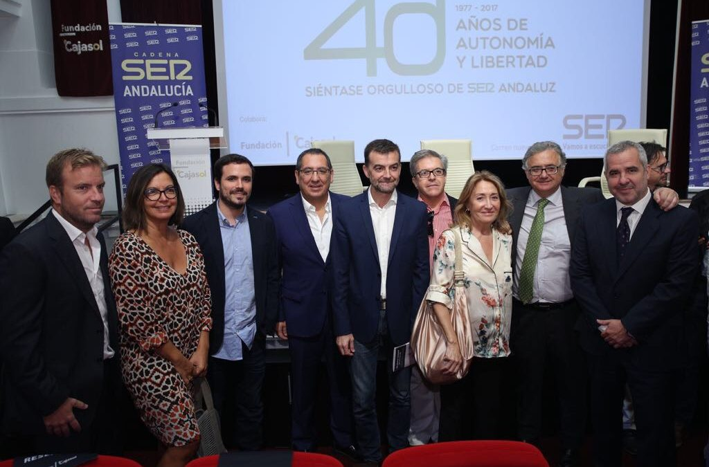 Antonio Maíllo y Alberto Garzón, en los Encuentros 40 años del 4-D, de la Cadena SER Andalucía, desde la Fundación Cajasol