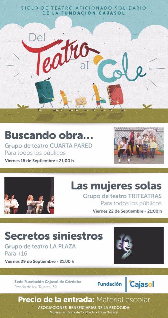 Cartel del ciclo 'Del Teatro al Cole' en la Fundación Cajasol (Córdoba)