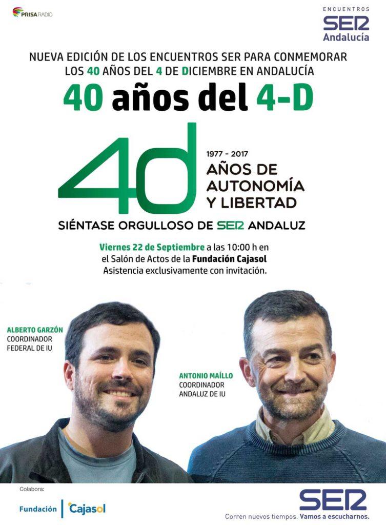 Cartel del encuentro '40 años del 4-D' de la Cadena SER con líderes de IU