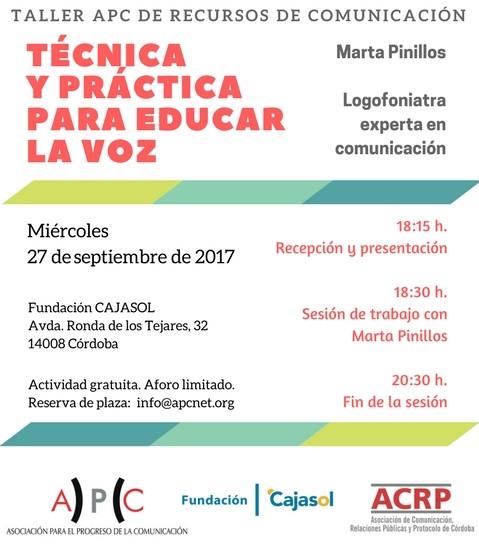 Info sobre el taller de técnica y práctica para educar la voz en la Fundación Cajasol (Córdoba)
