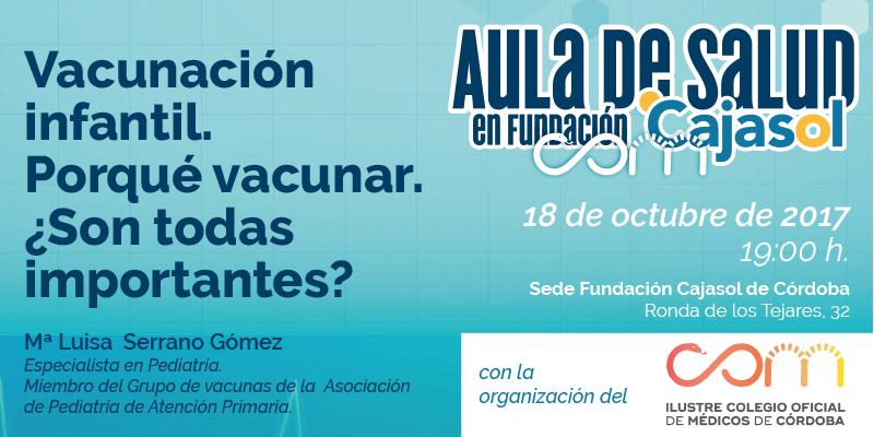 Aula de Salud de la Fundación Cajasol en Córdoba sobre 'Vacunación infantil'