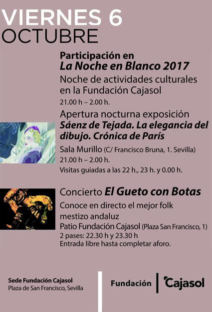 Cartel de las actividades previstas en la Fundación Cajasol por la Noche en Blanco Sevilla 2017