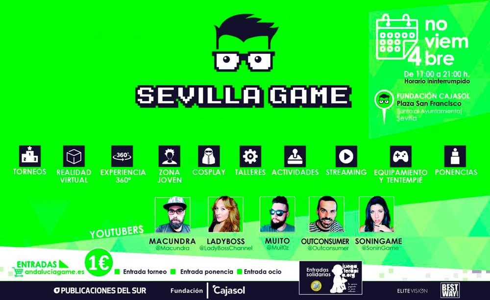 Cartel de Sevilla Game 2017 en la Fundación Cajasol