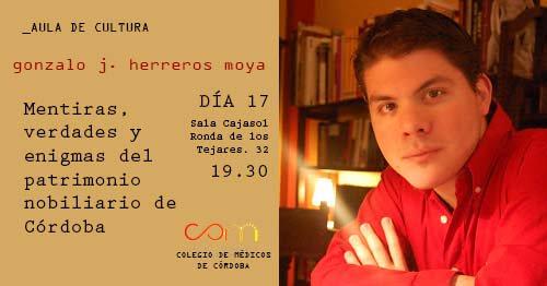 Anuncio de la conferencia de Gonzalo Herreros en la Fundación Cajasol (Córdoba)