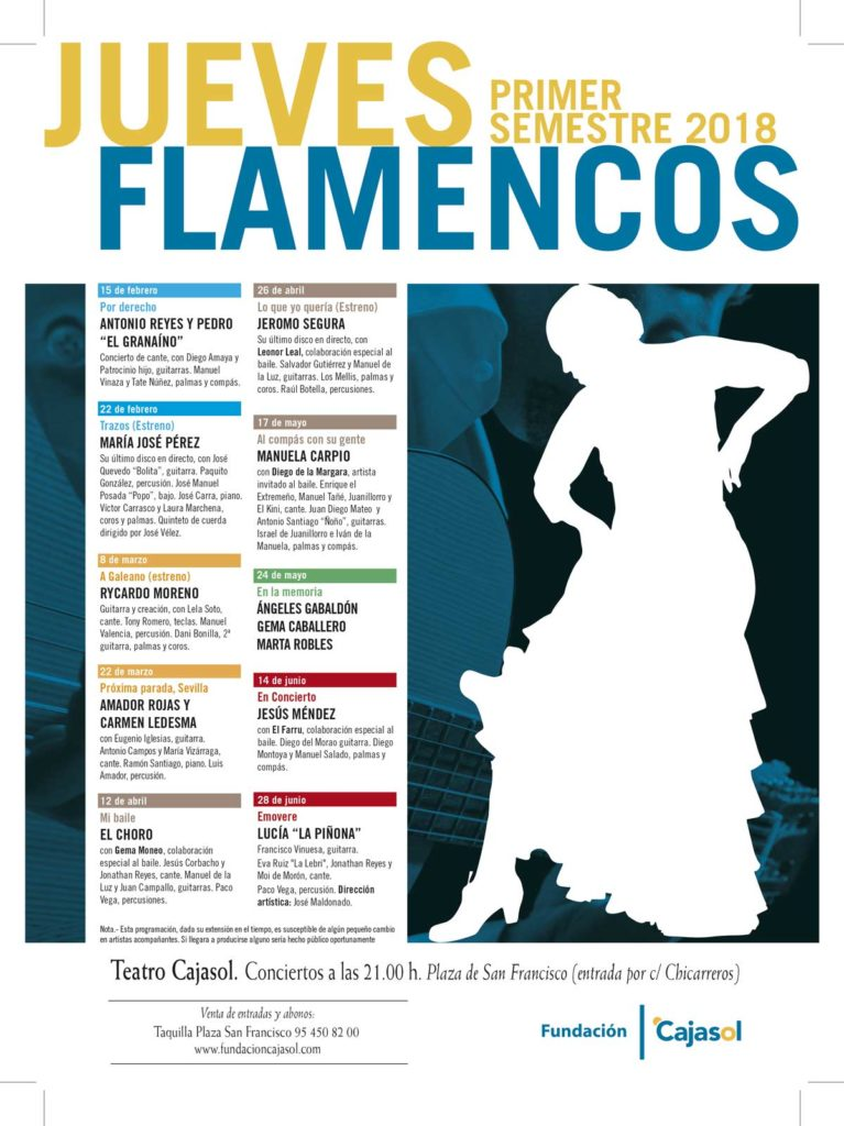 Cartel del ciclo de primavera 2018 en los Jueves Flamencos de la Fundación Cajasol en Sevilla