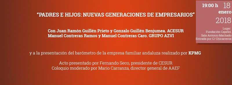 Invitación para la conferencia sobre empresas familiares de CESUR en la Fundación Cajasol