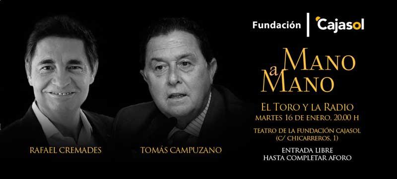 Invitación para el Mano a Mano entre Tomás Campuzano y Rafael Cremades en la Fundación Cajasol