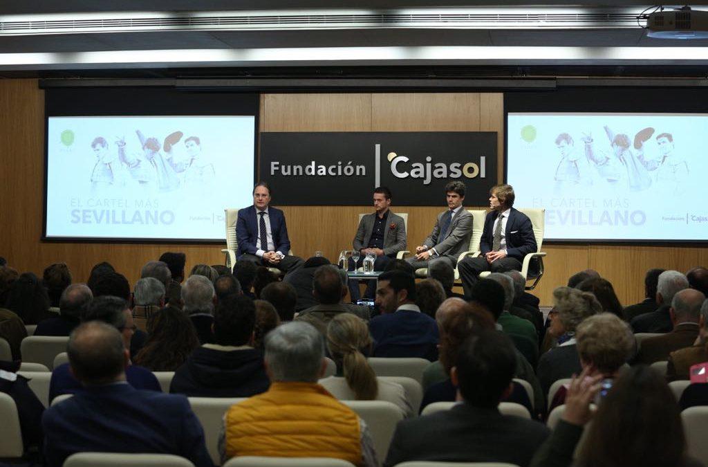 Javier Jiménez, Lama de Góngora y Pablo Aguado, en la primera charla del ciclo promoción y fomento de la tauromaquia