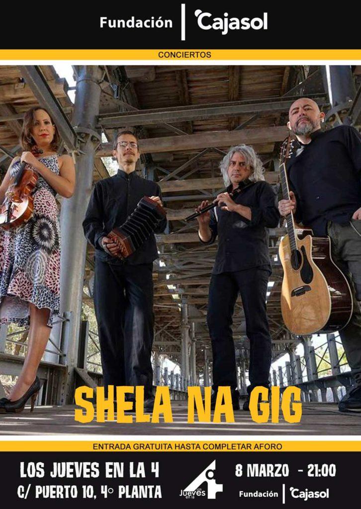 Cartel de la actuación de Shela Na gig en Los Jueves en la Cuarta de la Fundación Cajasol en Huelva