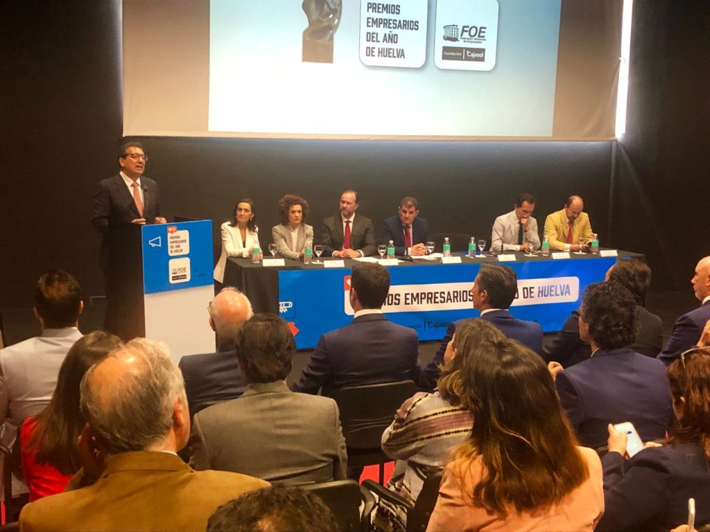 Antonio Pulido, durante su intervención en el acto de entrega de los XIII Premios FOE en Huelva