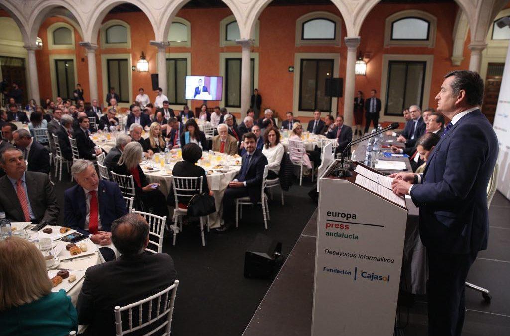 Desayuno Informativo de Europa Press con el delegado del Gobierno en Andalucía, Antonio Sanz, desde la Fundación Cajasol