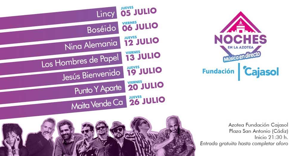 Los jueves y viernes del mes de julio tienes una cita con las 'Noches en la Azotea' de la Fundación Cajasol en Cádiz