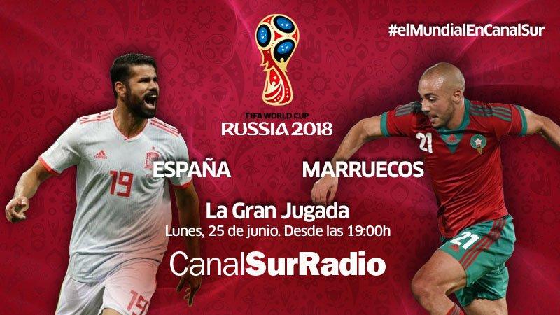 Anuncio del partido entre España y Marruecos retransmitido en Canal Sur Radio desde la terraza de la Fundación Cajasol en Cádiz