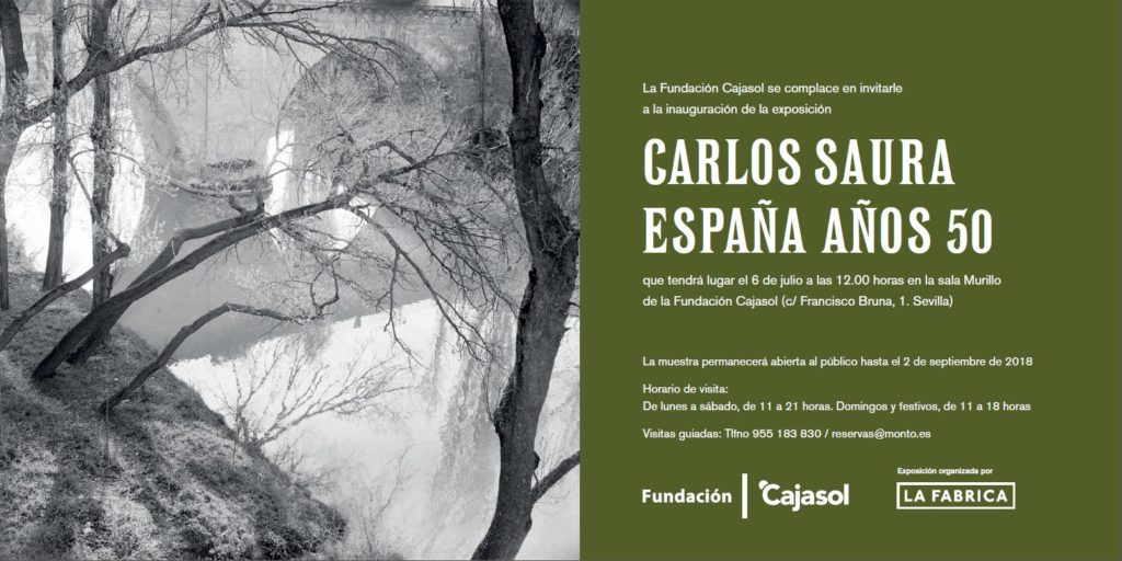 Invitación a la exposición 'Carlos Saura. España años 50' en la Sala Murillo de la Fundación Cajasol en Sevilla