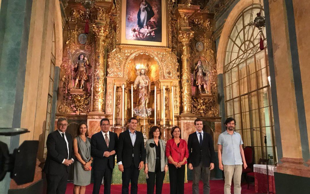 Carmen Calvo, Pablo Casado, Albert Rivera y Rafael Mayoral dialogan sobre la Constitución en el Oratorio San Felipe Neri de Cádiz