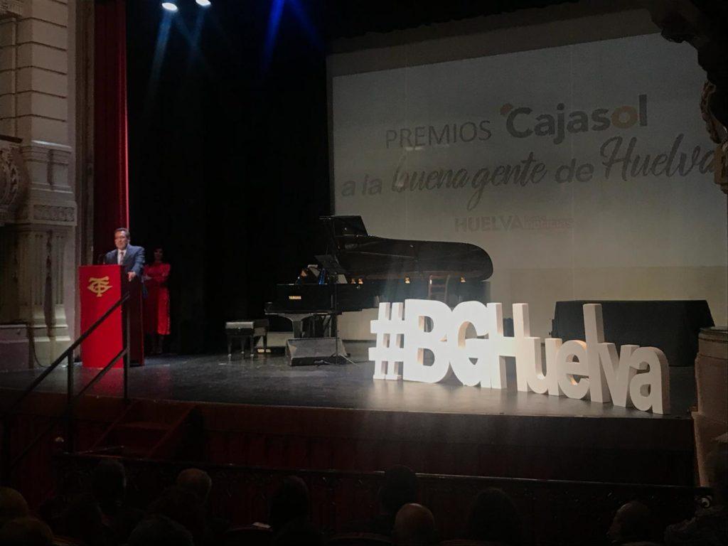 Antonio Pulido, presidente de la Fundación Cajasol, durante su intervención en los Premios Cajasol Buena Gente de Huelva