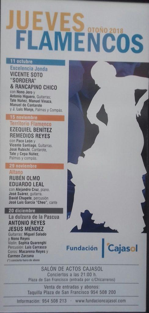 Cartel del ciclo de otoño 2018 de los Jueves Flamencos en Sevilla
