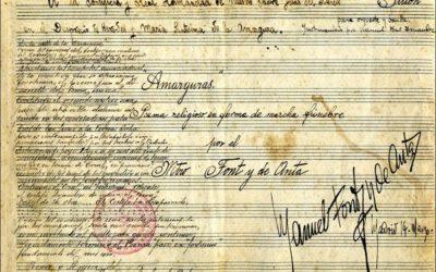 Programación de actos con motivo de la celebración del centenario de la composición de la pieza 'Amarguras'
