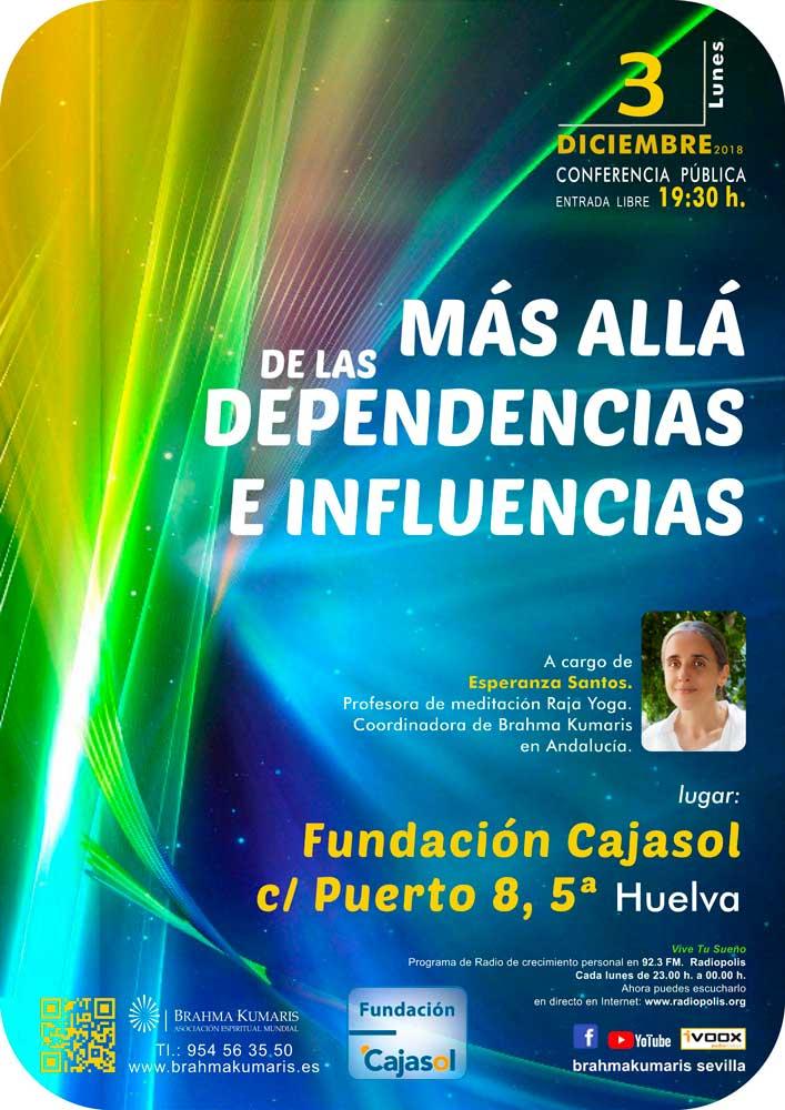Cartel de la conferencia de Esperanza Santos en la sede de la Fundación Cajasol en Huelva