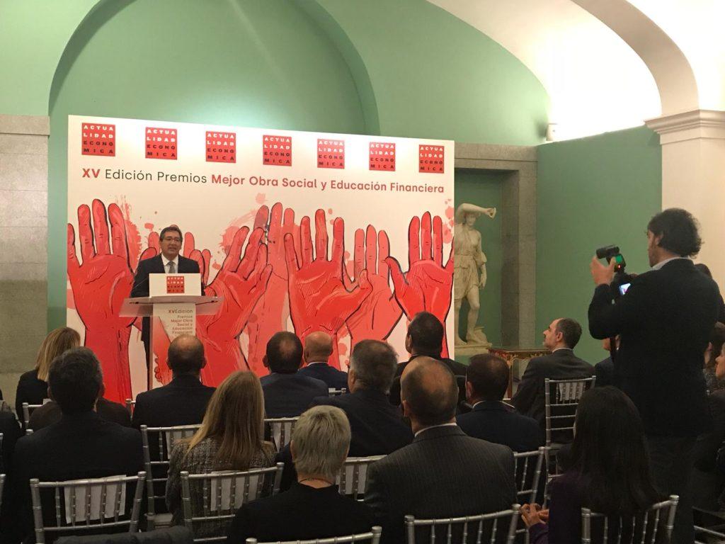 Antonio Pulido, durante su discurso en la entrega de los XV Premios Obra Social y Educación Financiera de Actualidad Económica
