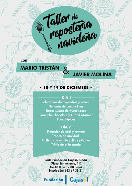 Cartel del taller de repostería navideña en la sede de la Fundación Cajasol en Cádiz