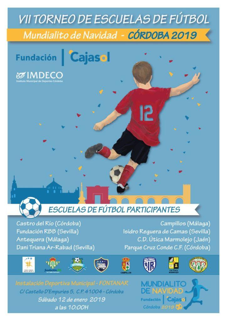 Cartel del Torneo de Escuelas de Fútbol 'Mundialito de Navidad' 2019 de la Fundación Cajasol en Córdoba