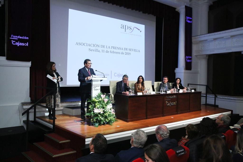Antonio Pulido, durante su intervención en el acto de entrega del XXVII Premio de la Comunicación de la Asociación de la Prensa de Sevilla