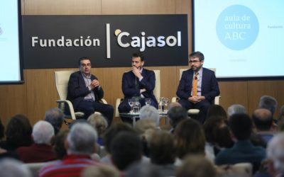 Juan Fernández-Miranda y Jesús García Calero en el Aula de Cultura de ABC de Sevilla
