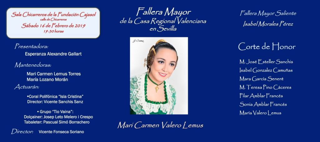 Cartel de la Exaltación de la Fallera Mayor 2019 en la Casa Regional Valenciana en Sevilla
