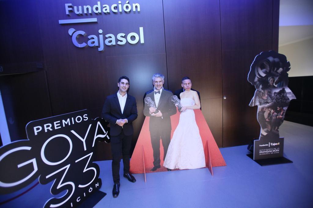 Invitados al encuentro de los Goya 2019 en la Fundación Cajasol posan en el photocall