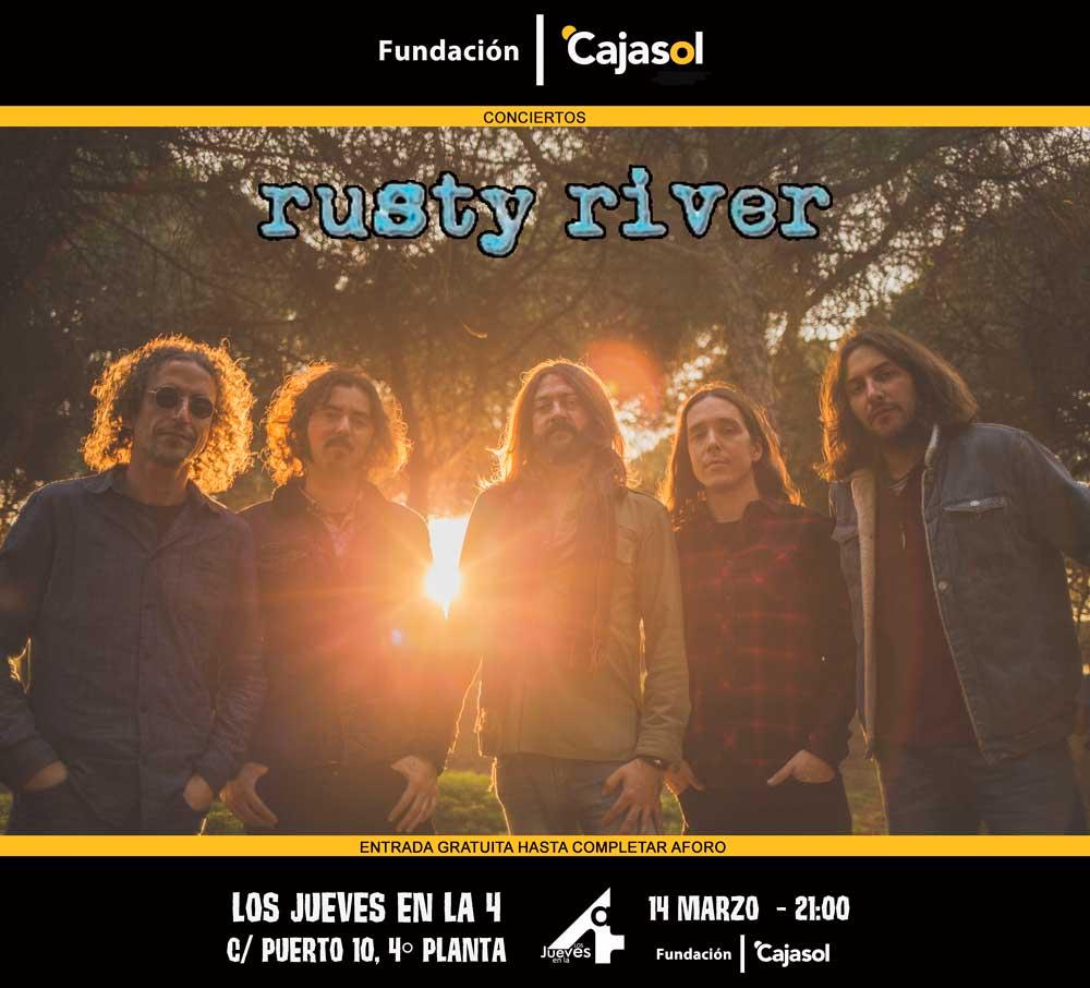 Cartel de la actuación de Rusty River en 'Los Jueves en la Cuarta' de la Fundación Cajasol en Huelva