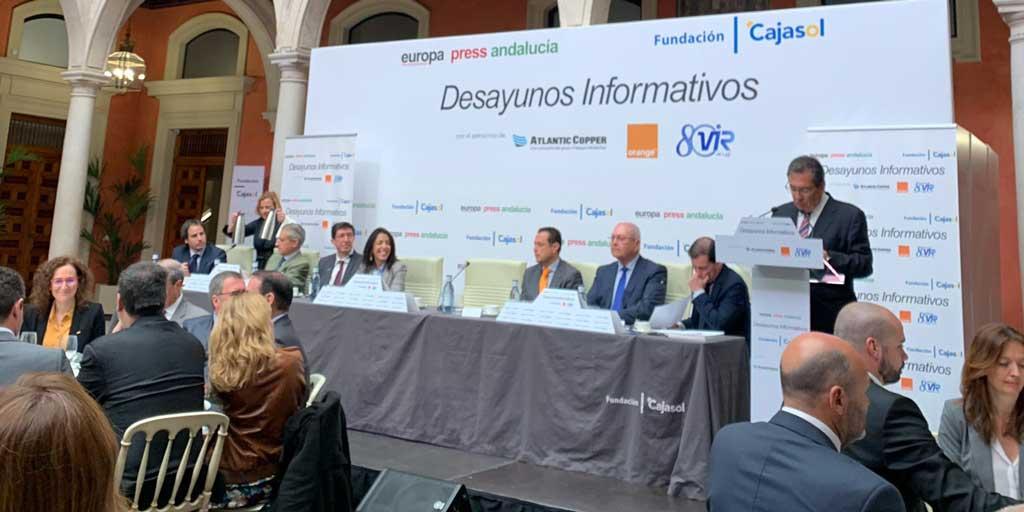 Antonio Pulido, durante su intervención en el Desayuno Informativo de Europa Press Andalucía desde la Fundación Cajasol